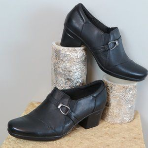 CLARKS COLLECTION Black Leather Career Shoes